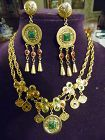 Goldtone double necklace with coins and  gemstones matching earrings