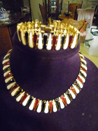 Signed vintage  Viro red white blue enamel bracelet and necklace set