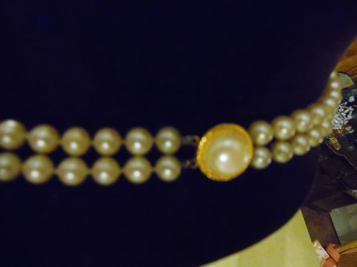 Nice heavy faux pearl double strand necklace with bracelet fancy clasp