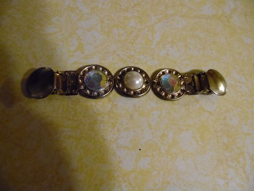 Jeweled sweater or dress clip with pearl and jewel cabochons