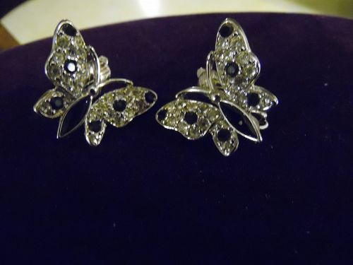 Trifari rhinestone crystal butterfly clip earrings