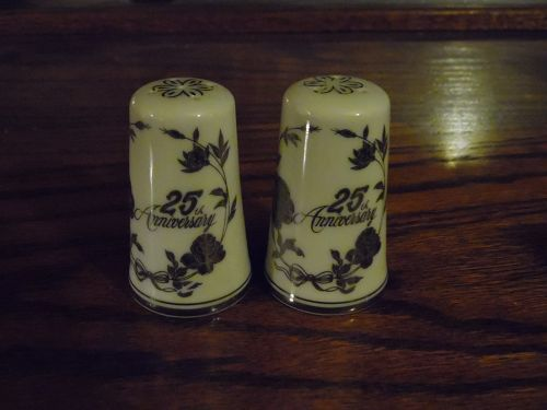 25th Silver  Wedding Anniversary salt and pepper shakers