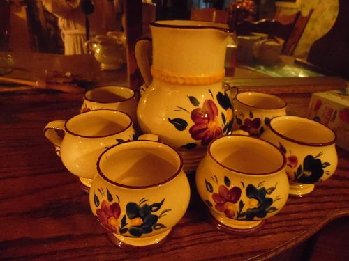 Goebel Hans Welling Tegernsee floral pottery pitcher and cups set
