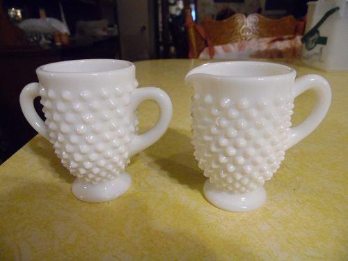 Fenton milk glass hobnail creamer and sugar set