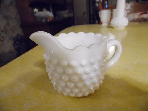 Fenton Milk glass hobnail creamer scalloped edge