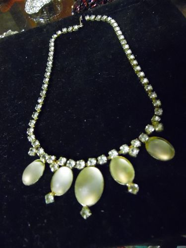 Vintage rhinestone and frosted white cabochon choker necklace