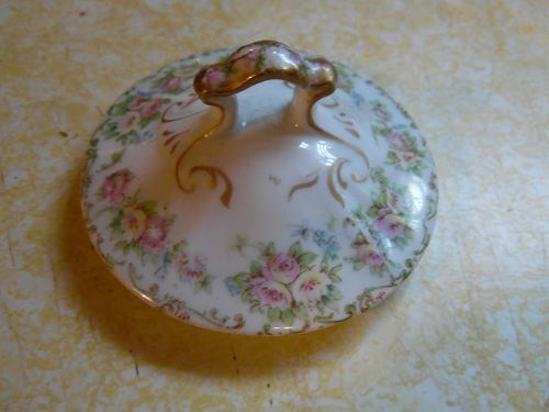 O.P. Co. Syracuse pink flowers SY52 Sugar bowl lid only circa 1910