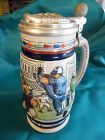 Avon 1984 Baseball themed beer stein with pewter lid.