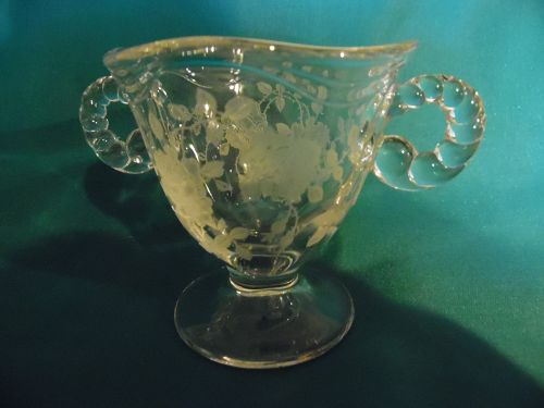 Fostoria coronet #2560  Willowmere #333 etch  sugar bowl