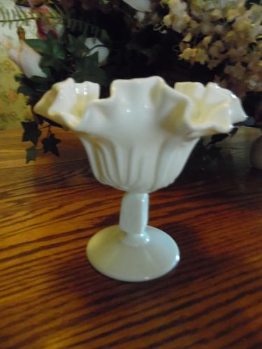 Fenton milk glass cactus ruffled compote