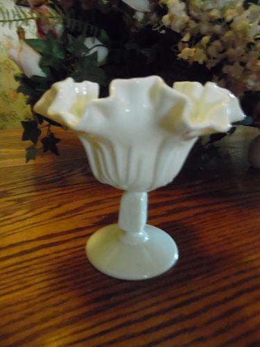 Fenton milk glass cactus ruffled compote