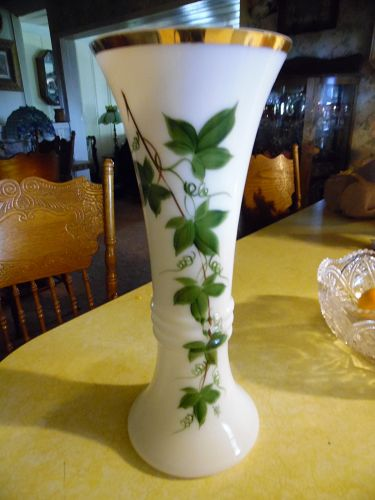 Consolidated glass Con-Cora tall green ivy vase paintedWaltrude Hendle