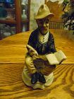 Homco style Man with book and quill pen bisque porcelain