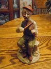 Homco style bisque porcelain  figurine of an old man playing the violi