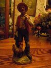 """Homco  porcelain man with rooster and perched bird figurine 10"""""""