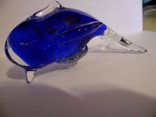 Art glass blown blue glass and clear dolphin figurine paperweight