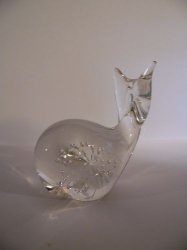 Control bubble hand blown art glass whale paperweight figurine
