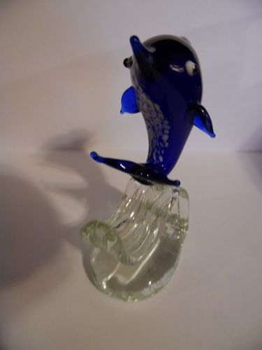 Blown art glass cobalt dolphin on wave figurine spatter belly