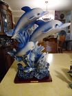 "Huge frolicking dolphins statue figurine. GORGEOUS 19"" tall"