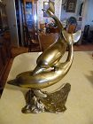 "Vintage Brass large double dolphins figurine 16"" tall"