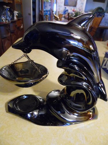 Irridescent black dolphin tea light oil warmer 9""