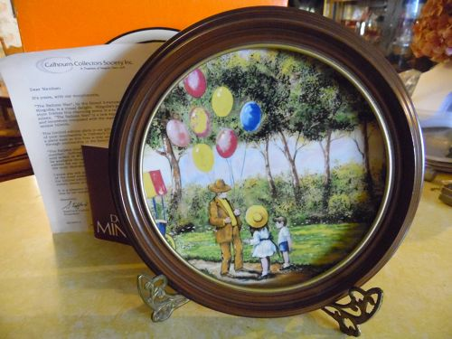 Balloon Man collector plate coa box and bonus wood frame