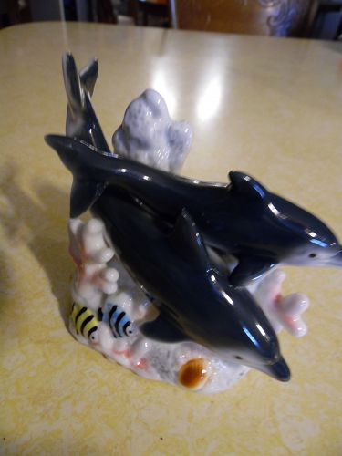 Porcelain dolphins and coral reef fish tank figurine