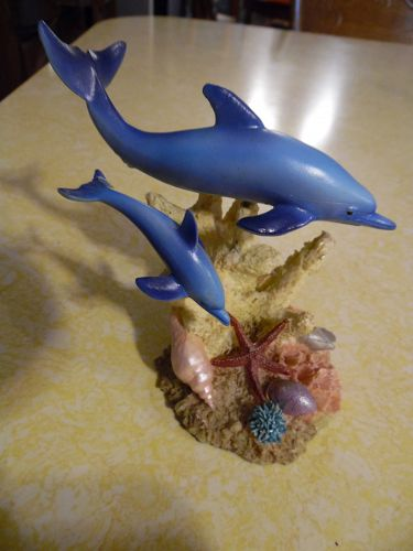 Dolphin and baby ocean reef  lifelike resin figurine