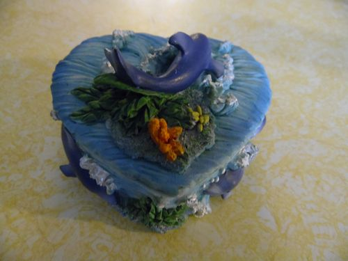 Heart shape dolphin trinket box hand painted resin