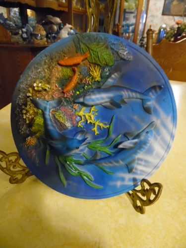 3-d dolphins and reef decorative resin plate