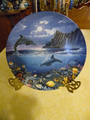 Moonlight Discovery dolphin collector plate  by Anthony Casay