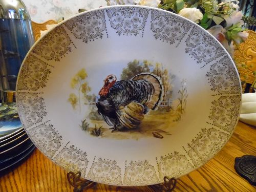 Vintage Knowles platter with turkey center filigree edge 15""