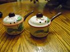 Vintage hand painted ceramic kitchen pans salt pepper shakers