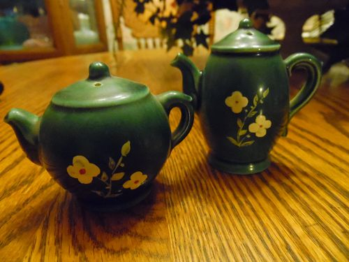 Vintage 1960s Germany Green Teapot Salt & Pepper Shakers Hand Painted
