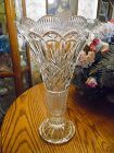 "Imperial Clear 14"" Vase  Lead Crystal Slovakia Pantheon pattern"