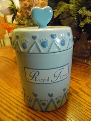 Royal Treats  heavy porcelain  dog cat treat jar