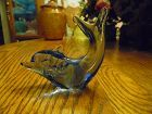 Blue art glass dolphin paperweight figurine