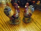 GKAO  hand painted rooster salt and pepper shakers