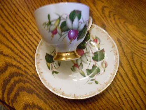 Taylor and Kent England Bone china tea cup and saucer fuschias