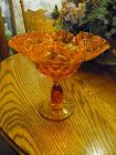 Fenton Orange Colonial thumbprint double ruffled compote 7 3/8""