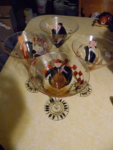 Set of hand painted Jazz club martini glasses by Ambiance collection