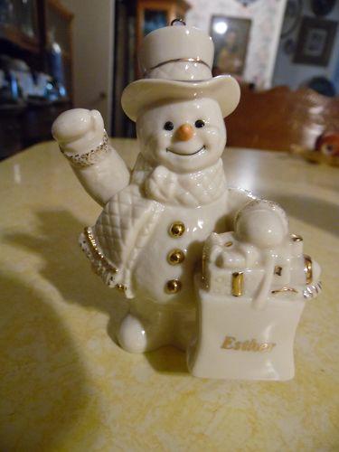 Lenox presonalized snowman Christmas ornament Esther