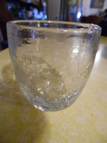 Heavy crystal crackle glass old fashioneds or whiskey glass set of 9