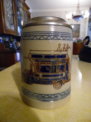 GOEBEL Merkelbach Salzglasur Germany beer stein with 1920 trolly car