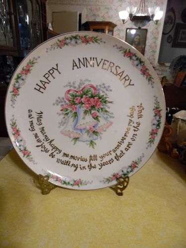 Huge Happy Anniversary plate with Blessing 12.5