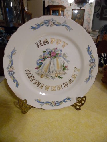 Lefton Happy Anniversary plate 5509 gold trim