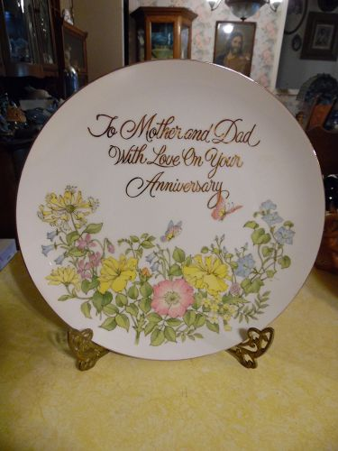 Happy Anniversary Mother and Dad plate flower garden and butterflies