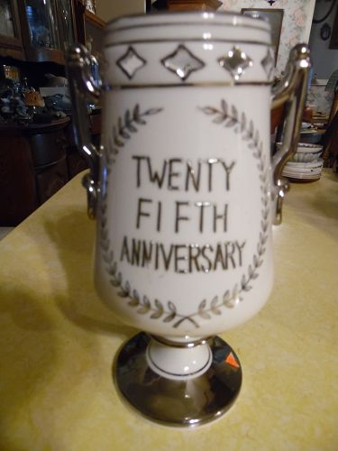 25th silver wedding  anniversary loving cup vase