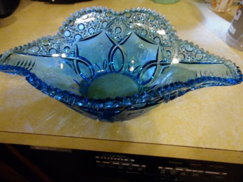 Vintage Kemple Glass Wheatonware Napolean Hat Bowl Blue Cane Band Rose