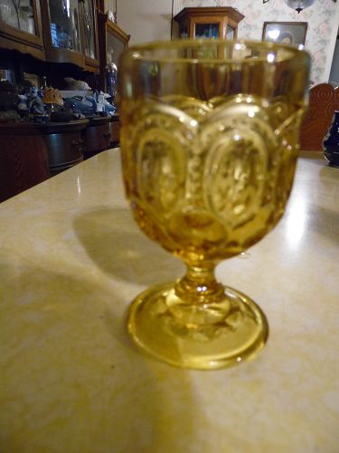 Smith Glass Moon and stars amber cordial or egg cup 3 3/4""